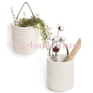 White 2 Pcs Rope Hanging Basket -Storage